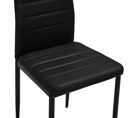 vidaXL Chaise de salle à manger 6 pcs avec ligne fine Noir[7/8]
