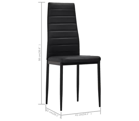 vidaXL Chaise de salle à manger 6 pcs avec ligne fine Noir[8/8]