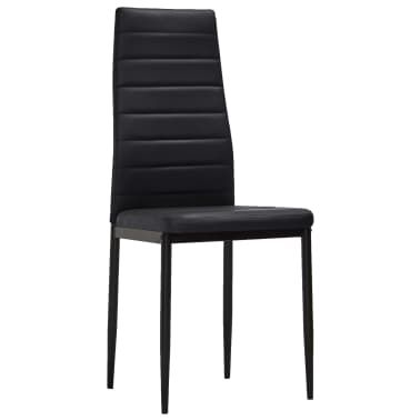 vidaXL Chaise de salle à manger 6 pcs avec ligne fine Noir[3/8]