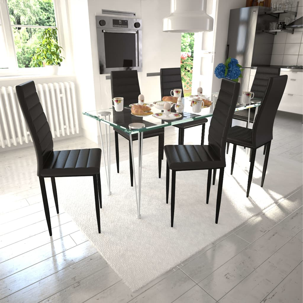 vidaXL spisebordsstole 6 stk. sort kunstlæder