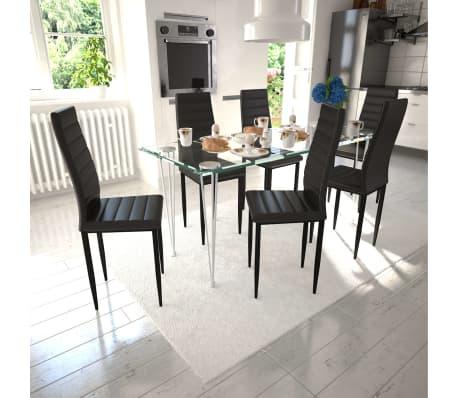 vidaXL Chaise de salle à manger 6 pcs avec ligne fine Noir[1/8]