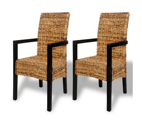 Handwoven Abaca Dining Chairs with Armrests 2 pcs[2/7]