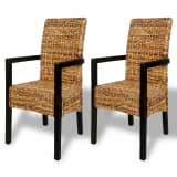 Handwoven Abaca Dining Chairs with Armrests 2 pcs