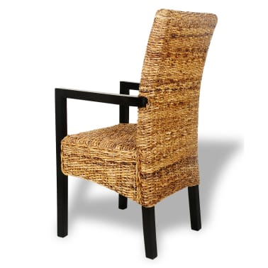 Handwoven Abaca Dining Chairs with Armrests 2 pcs[4/7]