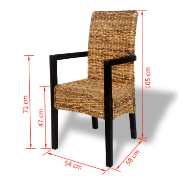 vidaXL Dining Chairs 2 pcs Abaca and Solid Mango Wood[7/7]