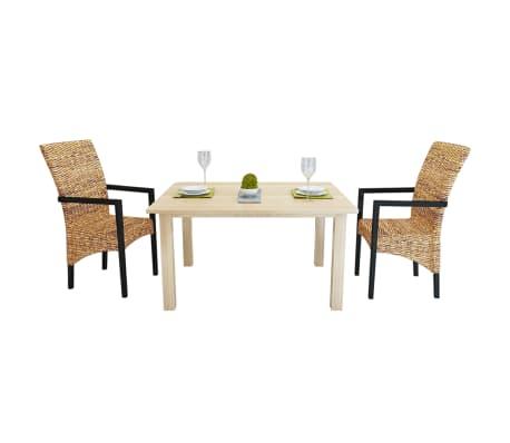 vidaXL Dining Chairs 2 pcs Abaca and Solid Mango Wood[1/7]