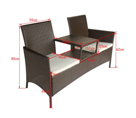 vidaxl poly rattan sitzbank 2 sitzer gartenbank. Black Bedroom Furniture Sets. Home Design Ideas