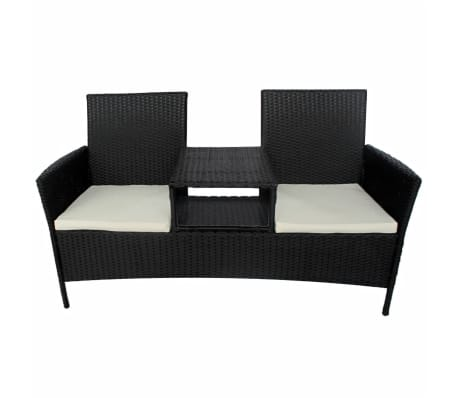 vidaxl 2 sitzer gartenbank mit teetisch schwarz poly rattan g nstig kaufen. Black Bedroom Furniture Sets. Home Design Ideas