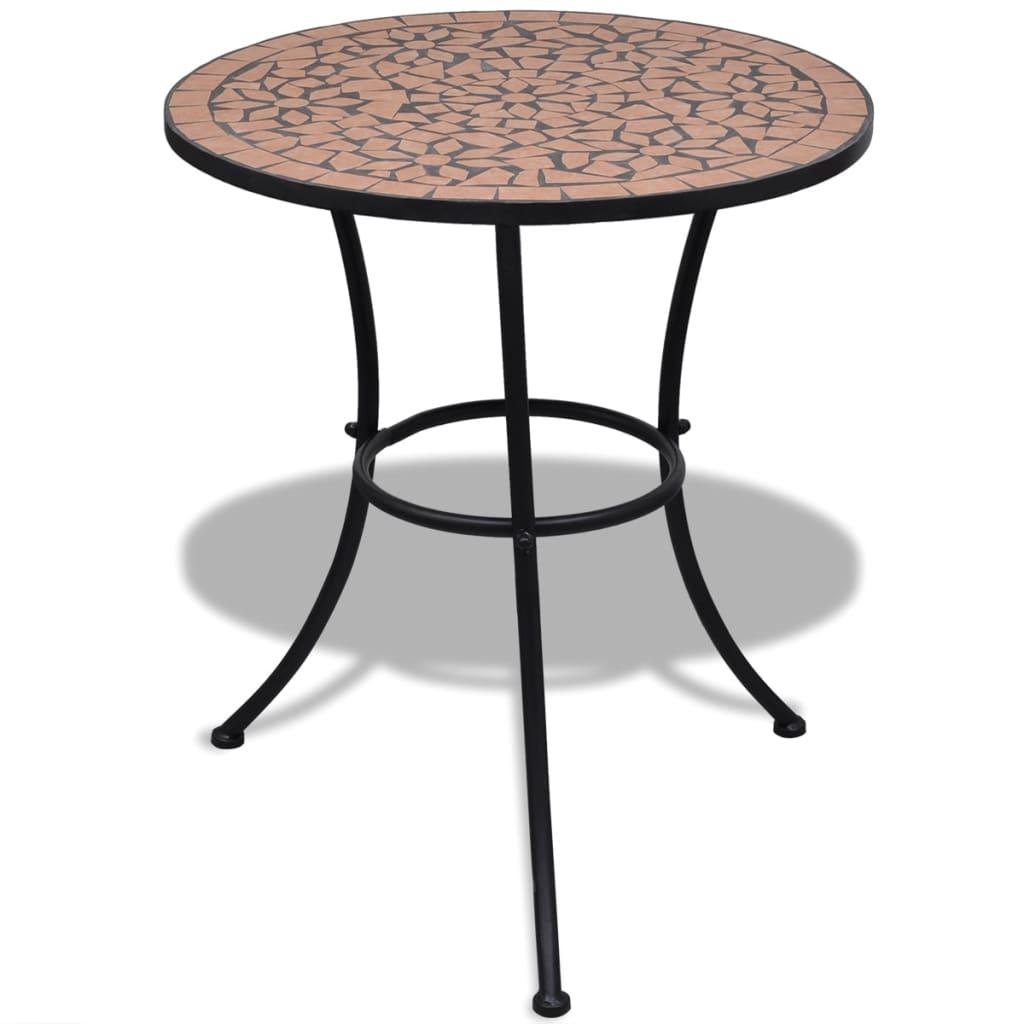 Mozaikový stůl 60 cm cihlová barva