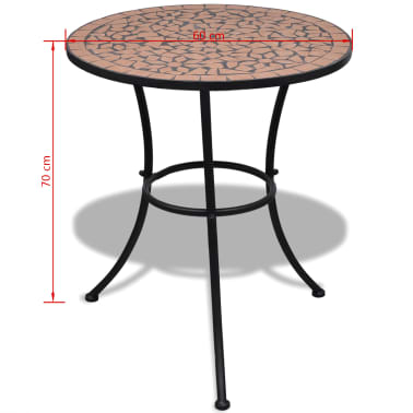 vidaXL Bistro Table Terracotta 60 cm Mosaic[5/5]
