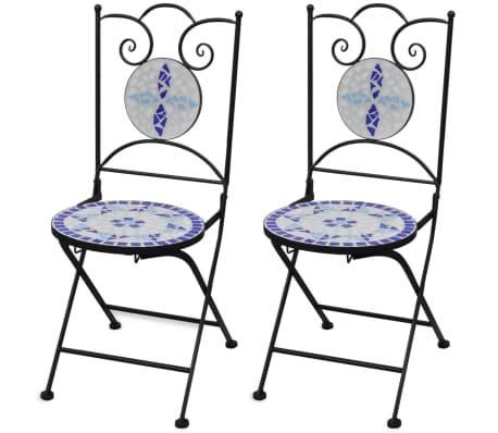 vidaXL Bistrostoelen inklapbaar 2 st keramiek blauw en wit