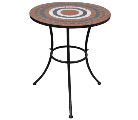 vidaXL Bistro Table Terracotta and White 60 cm Mosaic