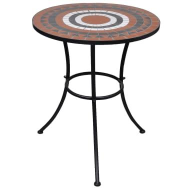 Tavolo in Ceramica con Mosaico 60 cm Terracotta / Bianco[1/5]