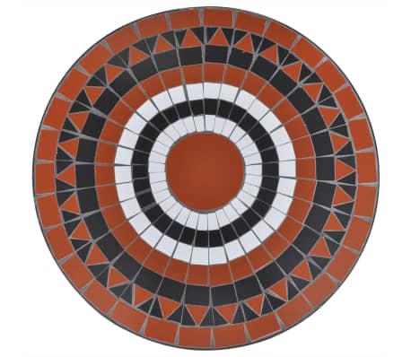 Tavolo in Ceramica con Mosaico 60 cm Terracotta / Bianco[3/5]