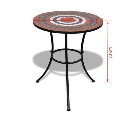 Tavolo in Ceramica con Mosaico 60 cm Terracotta / Bianco[5/5]