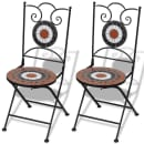 vidaXL Skladacie záhradné stoličky 2 ks, keramika, tehlové a biele