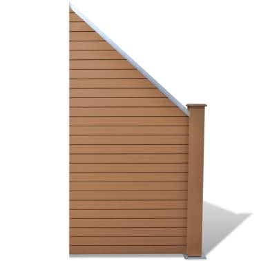 "vidaXL WPC Fence Panel 41.3""x(41.3""-72.8"") Slanted Brown[1/8]"