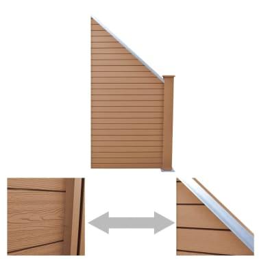 "vidaXL WPC Fence Panel 41.3""x(41.3""-72.8"") Slanted Brown[3/8]"
