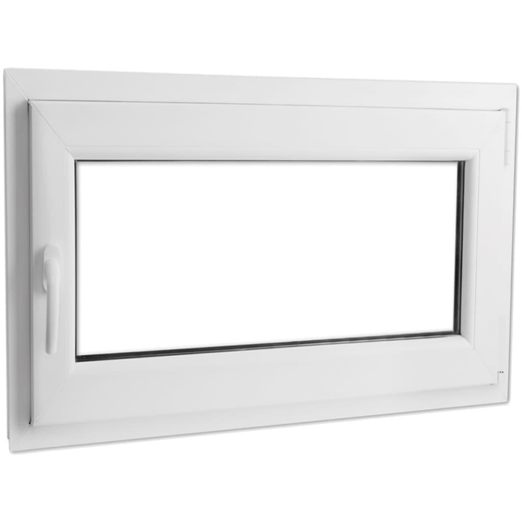 Fereastră oscilobatantă PVC, 2 foi de sticlă, mâner stânga, 1100x700mm vidaxl.ro
