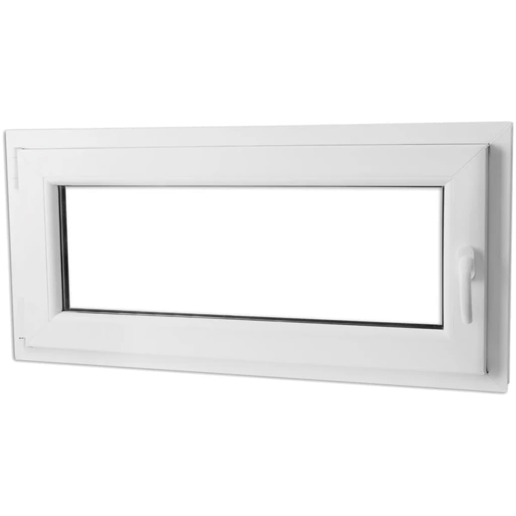 Otevíravě-sklopné okno, dvojité sklo, PVC, klika vpravo, 1100 x 500 mm