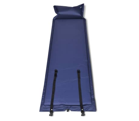 Blå självuppblåsbart liggunderlag 185 x 55 x 3 cm (enkelsäng)[2/5]