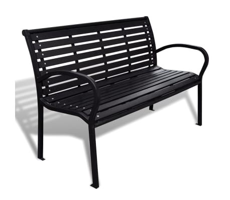vidaXL Garden Bench 125 cm Steel and WPC Black[1/5]