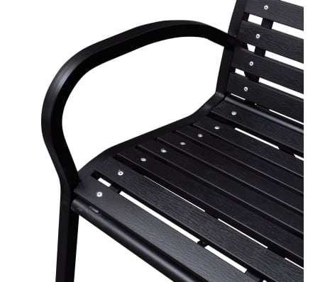vidaXL Garden Bench 125 cm Steel and WPC Black[3/5]