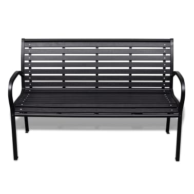 vidaXL Garden Bench 125 cm Steel and WPC Black[2/5]