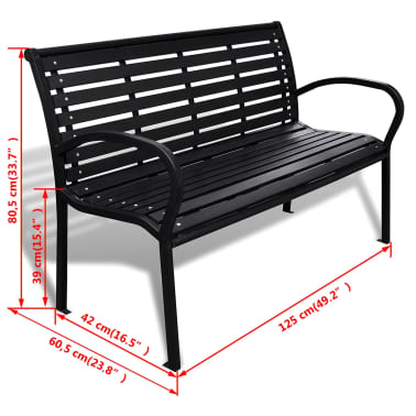 vidaXL Garden Bench 125 cm Steel and WPC Black[5/5]