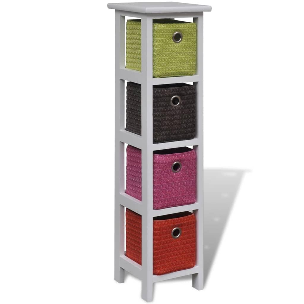 vidaXL Komoda s barevnými košíky dřevěná