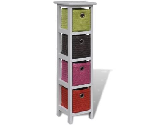 vidaXL Storage Rack with Multi-color Baskets Paulownia Wood