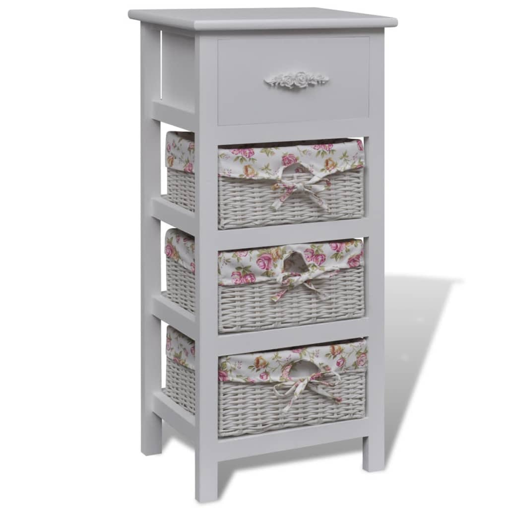 vidaXL White Cabinet with 1 Drawer and 3 Baskets Wood