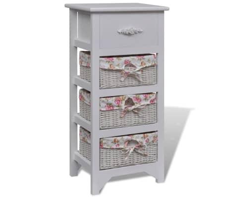 acheter vidaxl armoire avec 1 tiroir et 3 paniers blanc bois pas cher. Black Bedroom Furniture Sets. Home Design Ideas