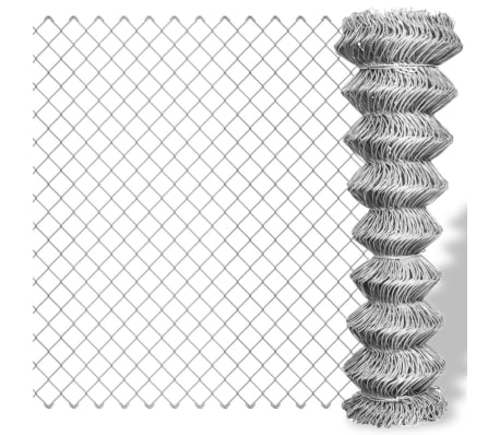 vidaXL Tinklinė tvora, sidabro sp., 15x1,25m, cinkuotas plienas