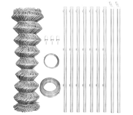 vidaXL Tinklinė tvora su stulpais, sidabro sp., 15x1m, cink. plienas