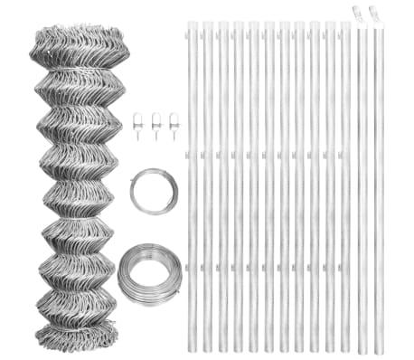 vidaXL Flätverksstängsel med stolpar galvaniserat stål 25x1 m silver