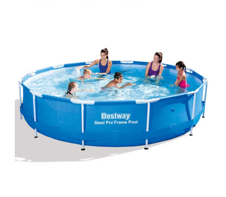 bestway steel pro rundes schwimmbad pool 366x76 cm stahlrahmen 56415 g nstig kaufen. Black Bedroom Furniture Sets. Home Design Ideas