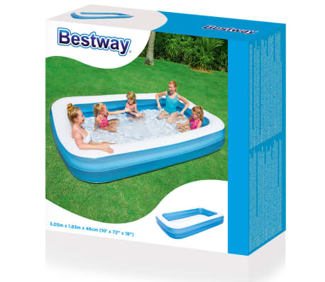 Bestway aufblasbarer pool blau wei 305 x 183 x 46 cm for Aufblasbarer pool