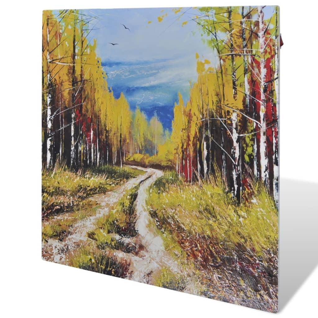 Infračervený topný panel nástěnný 400 W 60 x 60 cm, potisk stromy