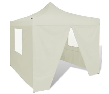 vidaXL Sammenleggbart telt med 4 vegger 3 x 3 m kremhvit