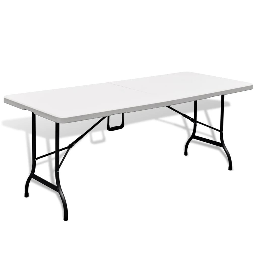 vidaXL Τραπέζι Βαλίτσα Πτυσσόμενο Κήπου Λευκό 180 cm