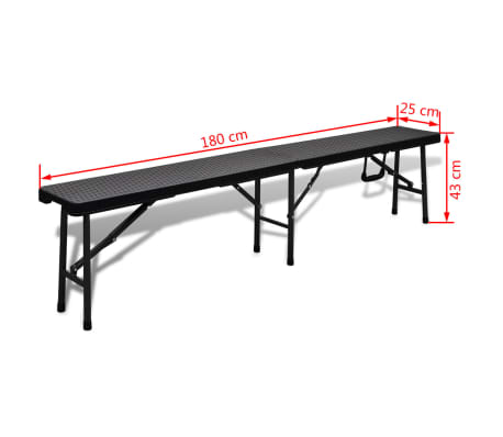 "vidaXL Folding Garden Benches 2 pcs 70.9"" HDPE Black[7/7]"