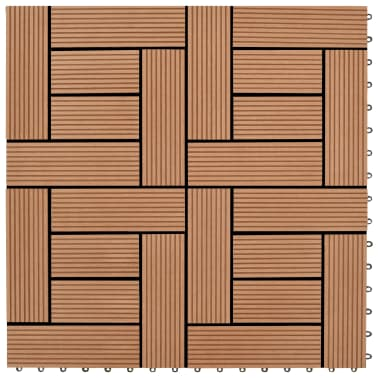 "Brown 11 pcs 11.8""x11.8"" Decking Tiles WPC 11 ft²[1/6]"
