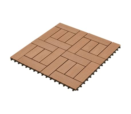 "Brown 11 pcs 11.8""x11.8"" Decking Tiles WPC 11 ft²[2/6]"