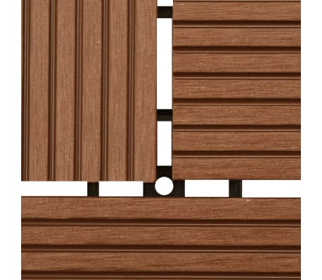 "Brown 11 pcs 11.8""x11.8"" Decking Tiles WPC 11 ft²[4/6]"