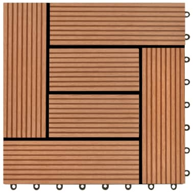 "Brown 11 pcs 11.8""x11.8"" Decking Tiles WPC 11 ft²[5/6]"