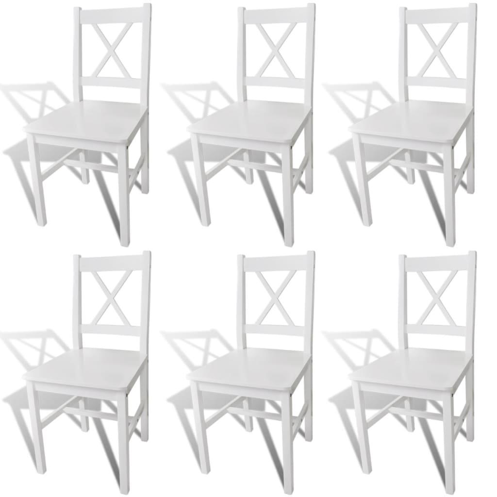 vidaXL Καρέκλες Τραπεζαρίας 6 τεμ. Λευκές Ξύλινες