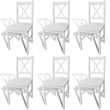 vidaXL Dining Chairs 6 pcs Wood White[1/5]