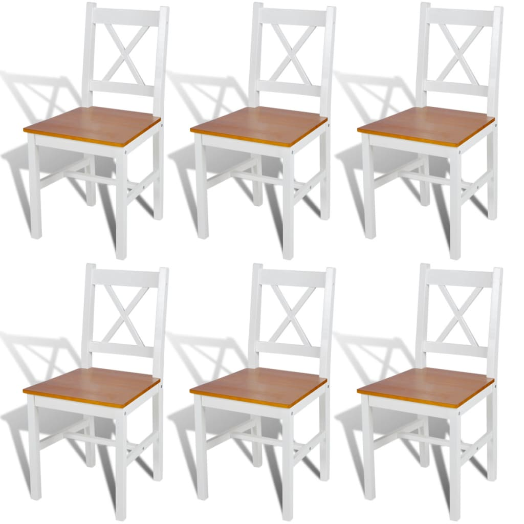 vidaXL Καρέκλες Τραπεζαρίας 6 τεμ. Λευκό / Φυσικό Χρώμα Ξύλινες