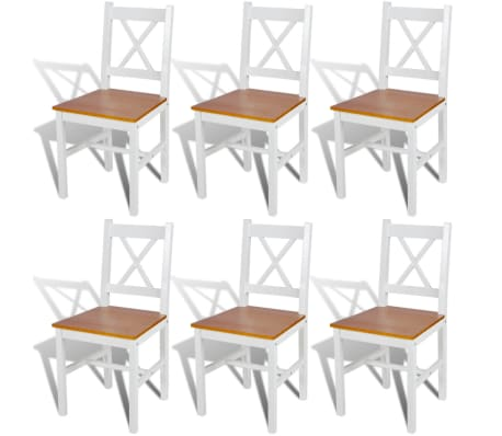 vidaXL Dining Chairs 6 pcs White Pinewood